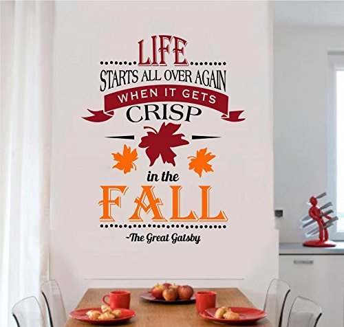 Life Starts All Over Again Fall Decor Vinyl Decal Wall Sticker Art Words Letters Lettering 22x28