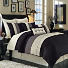 Hudson Luxury 8 Piece Comforter Set (California King, Black)