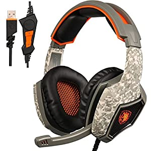 [2016 Newly Version] GW SADES SA917 USB Stereo Gaming Headset, Wired Over-Ear PC Mac Headphones with EQ Mode Selection, Mic Revolution Volume Control LED Light(Army Green)
