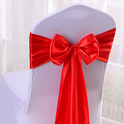 10PCS 17X275CM Satin Chair Bow Sash Wedding Reception Banquet Decoration #14 Red