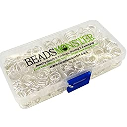 BeadsMonster Jewelry Findings Jump Rings, 10,12,14,16,18mm, Silver Color, with Box