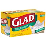 Glad Quick-Tie Tall Kitchen Bags, Easy Tie Flaps, 13 Gallon 35 ct.