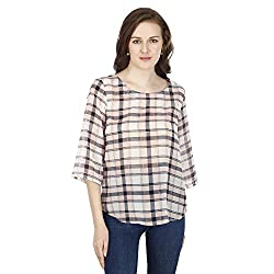 Women's Pink Checked Georgette Top, Trendy/Styish/Summer/Smart/Formal/Office/Casual Top Wear for Women and Girls
