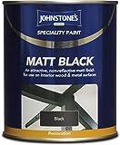 Johnstones Specialty Paints Flat Matt Black Non Reflective Paint 750ml
