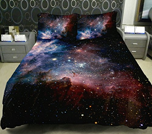 Anlye Colored Star Twinkling Bedding Set 2 Sides Printing Colored Star Duvet Coverstar Twinkling Bed Linen Sheets With 2 Matching Nebula Pillow Cases Twin front-1036574