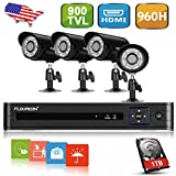 Floureon AF-C004 1X 8CH 960H CCTV DVR + 4X Outdoor 900TVL Bullet Camera + 1TB HDD Security Kit