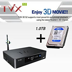 TVIX 3D S2 Real 3D Playable Android Media Player with Wireless Network HDMI 1.4, DLNA, FHD 1080P, Wi-Fi(11N) on board with 1T HDD