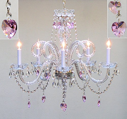 """Swarovski Crystal Trimmed Chandelier! Chandelier Lighting With Crystal Pink Hearts H25"""" X W24"""" - Perfect For Kids' And Girls Bedrooms! front-183469"""
