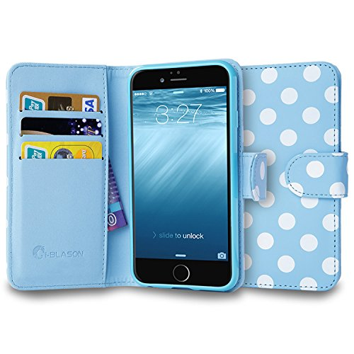 Click to buy iPhone 6s Plus Case, [Wallet Case] i-Blason KickStand Apple iPhone 6 Plus Case 5.5 Inch Leather Cover w Credit Card [ID Holders] (Blue/White) - From only $19.95
