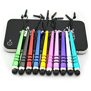 iClover - Bundle of 9 PCS SHORT Colorful Stylus Pen Set Black/Blue/Red/Yellow/Purple/Green/Pink & more Stylus Touch Screen Cellular Phone & Tablet Pen for iPhone 3G/S, 4G/S, iPod Touch, iPad 2 & 3, SONY PLAYSTATION, PSP PS VITA, Motorola Xoom, Samsung Gal