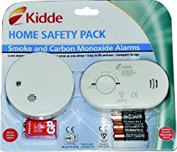 Carbon Monoxide & Smoke Detector Alarm Safety pack easy fit & ready to use with FREE batteries by Kidde