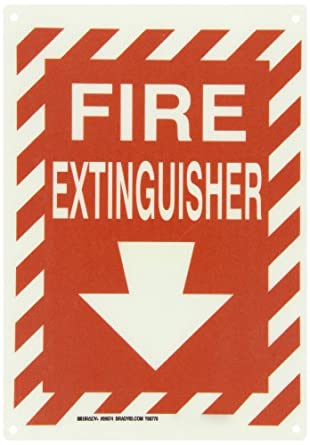 "Brady White On Red Color Fire Sign, Legend ""Fire Extinguisher With Picto"""