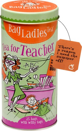 Bag Ladies Tea Tea for Teacher Tin, 25 Teabags of English Breakfast Tea