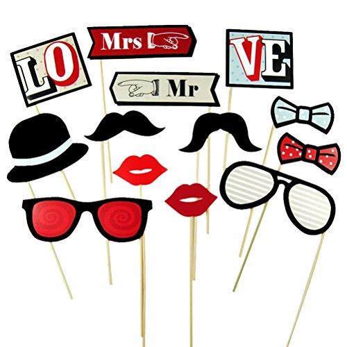 Tinksky 13pcs Photo Booth puntelli Mustache Occhiali Mr e Mrs per matrimonio partito compleanno