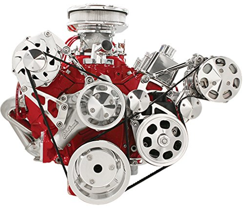 NEW BILLET SPECIALTIES SMALL BLOCK CHEVY POLISHED FRONT ENGINE SERPENTINE CONVERSION KIT WITH PRESS-ON POWER STEERING PUMP PULLEY & BRACKET, AIR CONDITIONER COMPRESSOR BRACKET & CLUTCH COVER, TOP PASSENGER-SIDE ALTERNATOR MOUNTING BRACKET, SBC WATER PUMP, CRANK, & ALTERNATOR PULLEYS