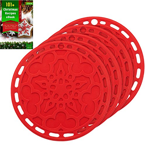 Silicone Hot Pads (Set of 4) - 6 in 1 Multi-purpose Kitchen Tool, Pot Holder, Splatter Guard, Microwave Cover, Jar Opener, Decorative Trivet, Red, 8 Inches. Includes 121 Cooking Secrets Ebook (Hot Plates For Table compare prices)