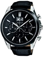 Casio EFB-502BL-1AVER Edifice Men's Quartz Watch with Black Dial Analogue Display and Black Leather Strap
