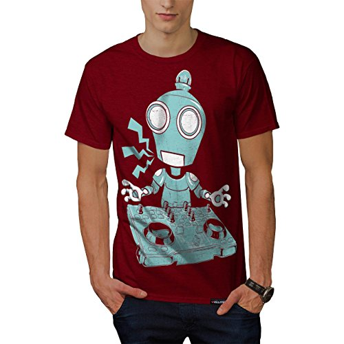DJ Robot piatto CD Rave Decks Uomo Nuovo Rosso T-Shirt L | Wellcoda
