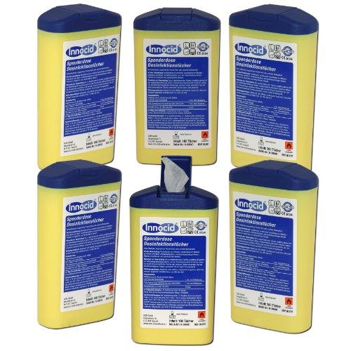 6x 100 Desinfektionstücher Tücher Tuch Innocid Spenderdose Desinfektion Hygiene