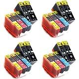 20 Tintenpatronen kompatibel zu CLI-526 PGI-525 mit CHIP & Füllstandsanzeige (je Farbe 4x)