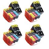 20 Tintenpatronen kompatibel zu CLI-526 PGI-525 mit CHIP & F�llstandsanzeige (je Farbe 4x)