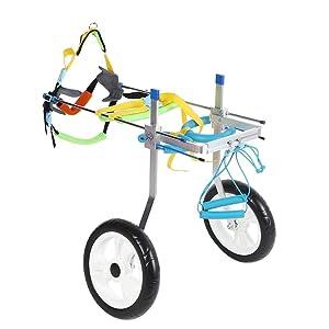 Fdit Adjustable Pet Dog Wheelchair Cart Disabled Dog Assisted Walk Car Pet Hind Leg Exercise Car for Hind Legs Rehabilitation Dog Walk (XL) (Tamaño: XL)