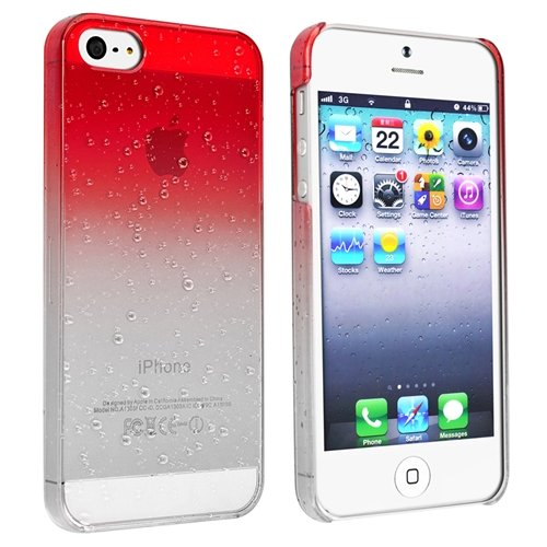 eForCity Clear Red Waterdrop Raindrop Hard Case Compatible with Apple® iPhone® 5 Picture