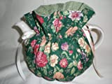 Flowers on Green Tea Pot Cozy - Fits 6 Cup Teapot - Reversible