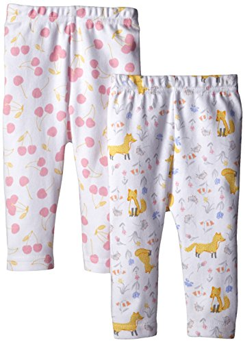 Rosie Pope Baby-Girls Cherries and Foxes Printed Pant, Multi, 6 Months (Pack of 2)