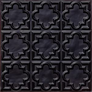 142 faux tin ceiling tile glue up 24x24 for Black tin backsplash