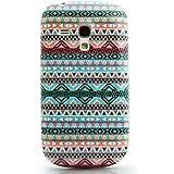 CaseiLike ® Indian 2023 Hybrid Streifen Tribal Theme Muster, Snap-on wieder Gehäuse für Samsung Galaxy S3 Mini i8190 mit Displayschutzfolie 1pcs.