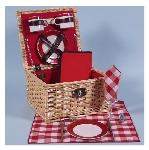 STOUR DE LUXE Willow 2 Person Picnic Hamper with ceramic mugs and plates, wine glasses, stainless steel cutlery, food box and napkins