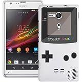 Etui de créateur pour Sony Xperia SP - Etui / Coque / Housse de protection blanc en Plastique Rigide (arrière rigide) avec motif cool gameboy couleur