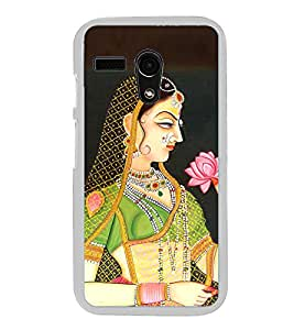 Rajasthani Girl Painting 2D Hard Polycarbonate Designer Back Case Cover for Motorola Moto G :: Motorola Moto G (1St Gen)