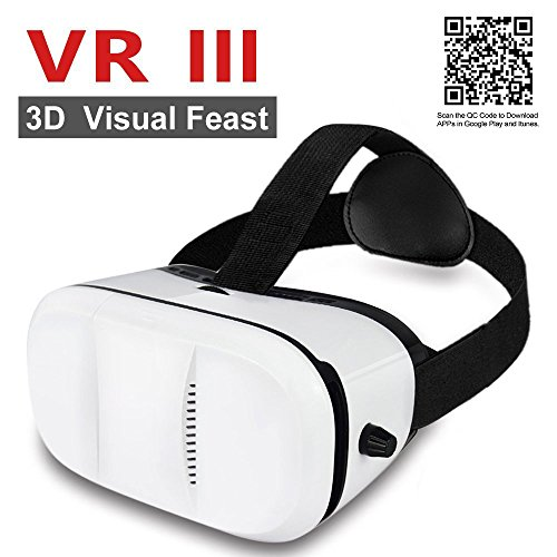 JGmax VR Box 3.0 Headset, 3D VR Virtual Reality Glasses Compact Design for iOS iPhone 6 6S Plus & Android Samsung Smartphones within 4.0-6.0 inches