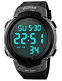 Mudder 5ATM Waterproof Digital Sports Military Multifunctional Dive Wrist Watch, Titanium Rating