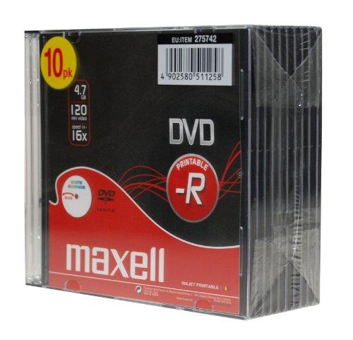 10 x DVD+R 4.7 Go 16x 4.7 Go 16x - surface imprimable - boîtier CD étroit - support de stockage...