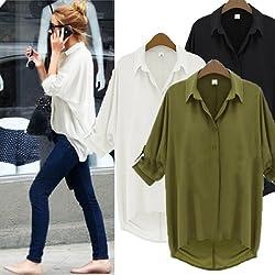 Fashion Womens Loose Chiffon Blouse Lapel Collar Shirt Long Raglan Sleeve Top UK 6-20 3 COLORS