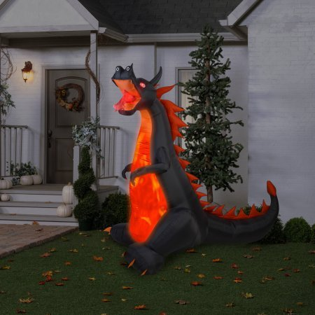 [Gemmy Airblown Inflatable 7' X 7.5' Dragon with Lights and Animation Halloween Decoration] (Poseidon Greek God Costume)