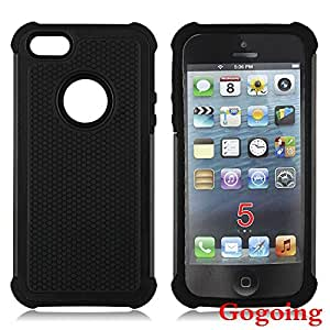 iPhone 5S Case, iPhone 5 Case,Gogoing Luxury Fashion Dual Layer Hybrid Shockproof Case for Apple iPhone 5 5S (Black)