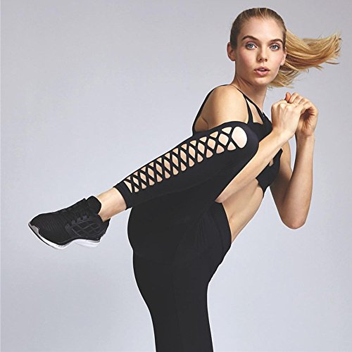 FAPIZI ♥ Women Pants ♥ Women Sports Gym Yoga Pierced Cropped Leggings Fitness Lounge Athletic Pants (S, black)