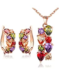 Jewels Galaxy 18K Rose Gold Plated Top Quality AAA Swiss Cubic Zirconia Pendant Earrings Set For Women