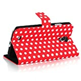 Triline Polka Dots Leather Wallet Case Stand With Card Holder for Samsung Galaxy S4 IV i9500 / Red