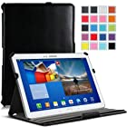 MoKo Genuine Leather Slim-Fit Multi-angle Folio Cover Case for Samsung Galaxy Tab 3 10.1 inch GT-P5200 / GT-P5210 Android Tablet, BLACK (WILL NOT Fit GALAXY Tab 4 10.1)