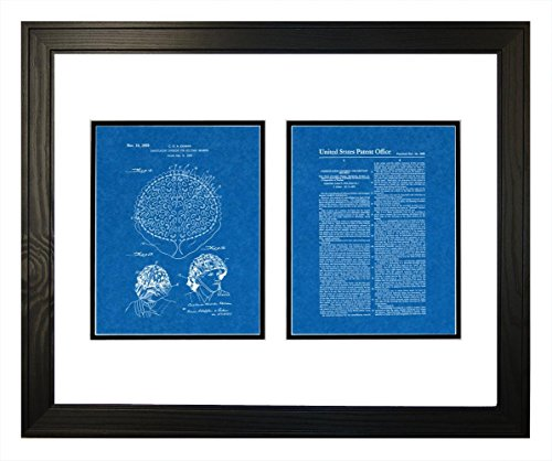 "Camouflaging Covering For Military Helmets Patent Art Blueprint Print in a Solid Pine Wood Frame (20"" x 24"")"