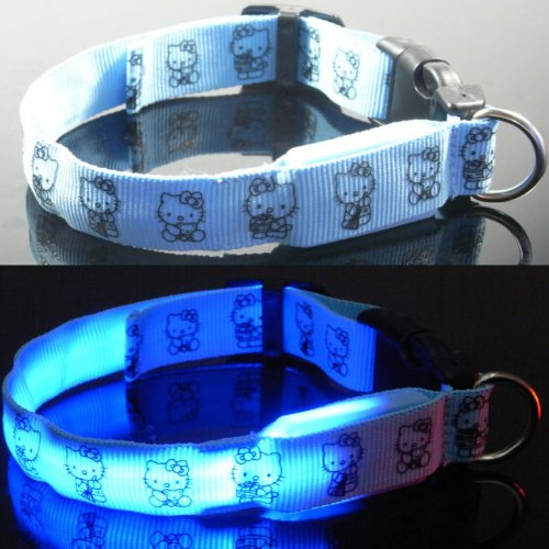 "Cute Blue Hello Kitty Led Light Flashing Pet Dog Puppy Or Cat Adjustable Safety Nylon Collar (Medium 11""-15 1/2"")"