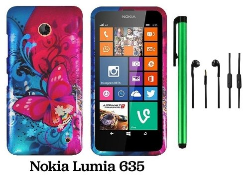 Nokia Lumia 635 (Us Carrier: T-Mobile, Metropcs, And At&T) Premium Pretty Design Protector Cover Case + 3.5Mm Stereo Earphones + 1 Of New Assorted Color Metal Stylus Touch Screen Pen (Pink Butterfly Bliss Blue Swirl)