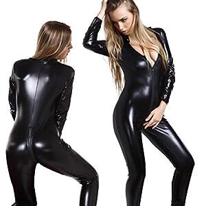 Women Wet Look PVC Catsuit Leather Jumpsuit Back And Front Zipper
