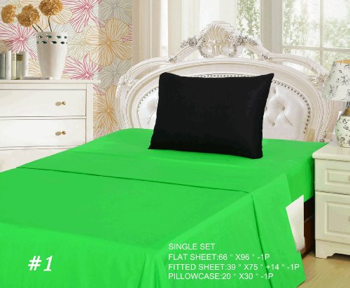 Tache 3 Piece 100% Cotton Lime Green And Black Bed Sheet Set-Single front-744196
