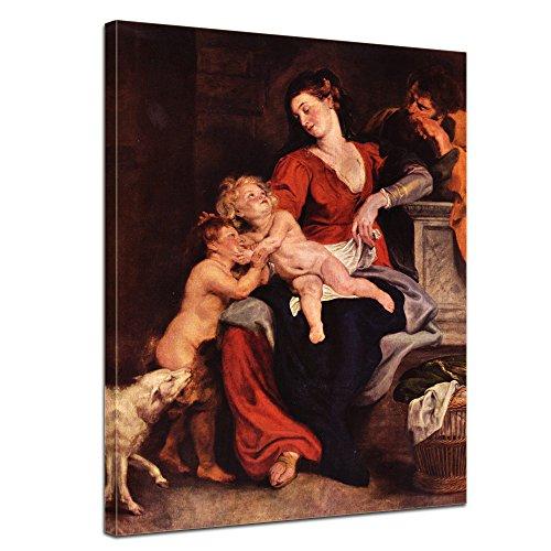 """Bilderdepot24 Leinwandbild Peter Paul Rubens - Alte Meister """"Die Heilige Familie mit dem Korbe"""" 50x70cm - fertig gerahmt, direkt vom Hersteller"""